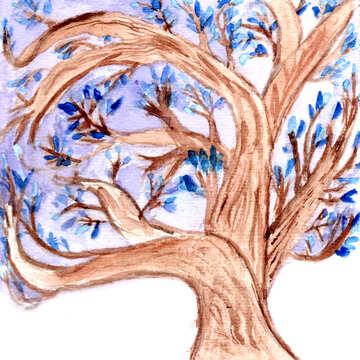 Watercolor tree  №49601