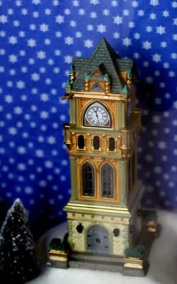 Fairy-tale Christmas Town Hall tower №49582