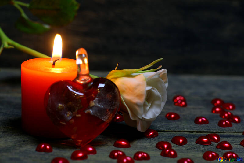 Candle and a heart of glass №49212