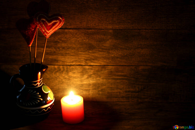 Candle and love heart №49218