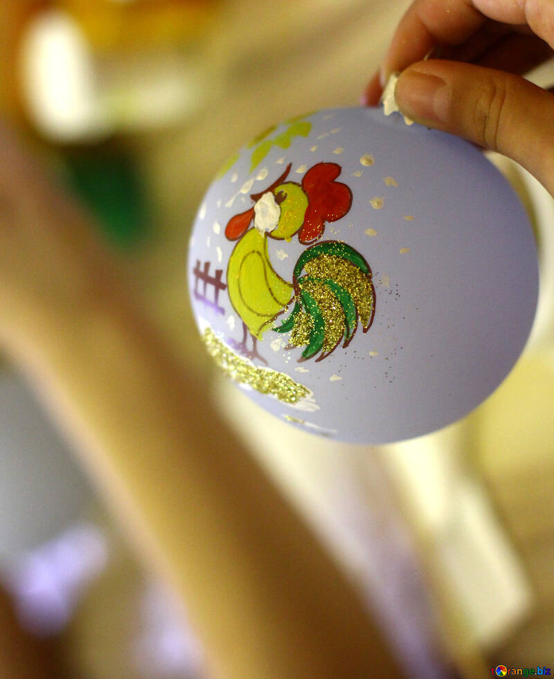 Christmas Ornament with rooster cartoon №49408
