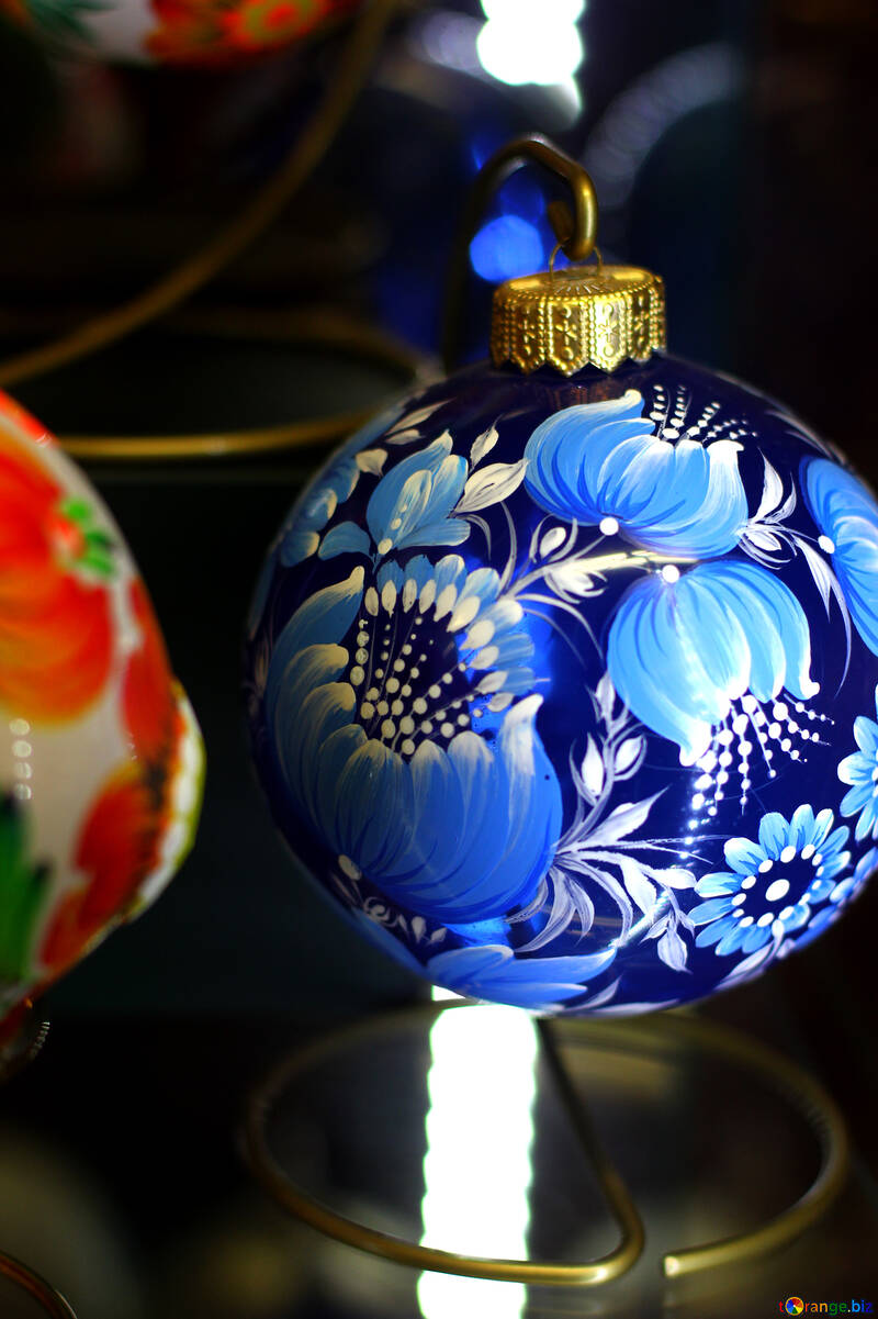 Синий рождественский шар №49562