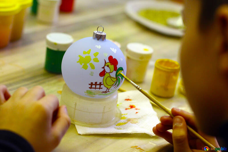 Coloring New Year`s toys manually №49405