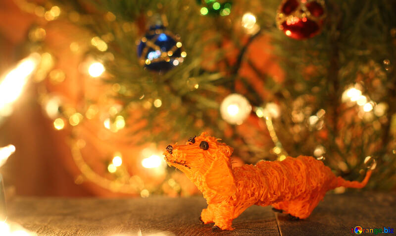Symbol of new years 2018 yellow dachshund dog. 3D pen №49603