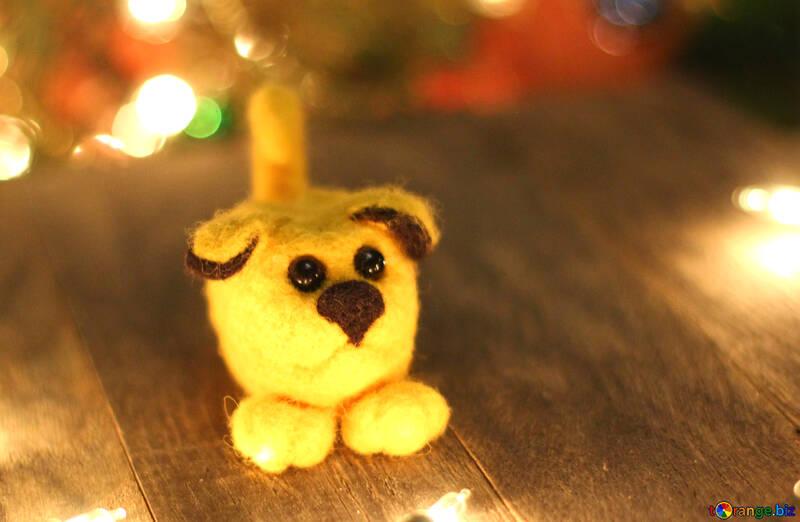 Symbol des gelben Welpen der neuen Jahre 2018 Hund. №49604