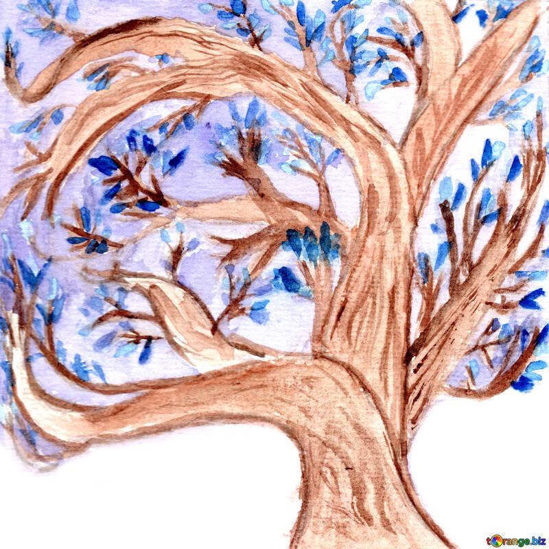 Frühlingskarte. Blühender Magnolienbaum unter dem Schnee. Author`s Zeichnung mit Aquarellfarben. Auf blauem Schnee Hintergrund. №49601