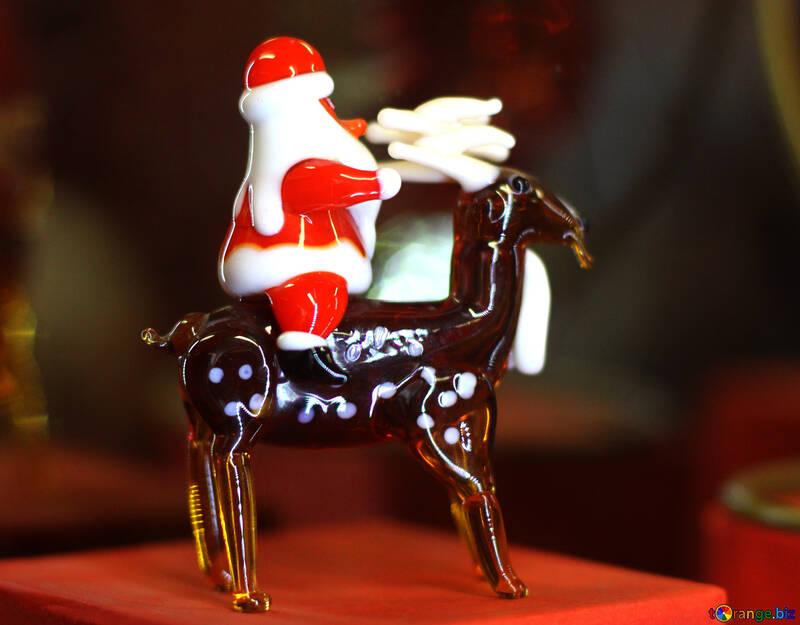 Santa Claus on reindeer Christmas decoration №49508