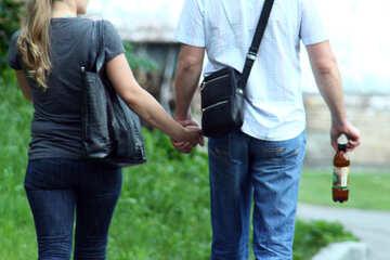 Weg. Hände einer Paarholding. №5137