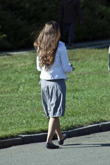 Girl   skirt . Splayed  hair. №5706