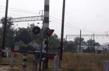Rot Semaphor an Gleis Überfahrt №5881