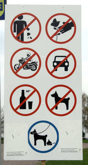 Prohibitory signs in the park