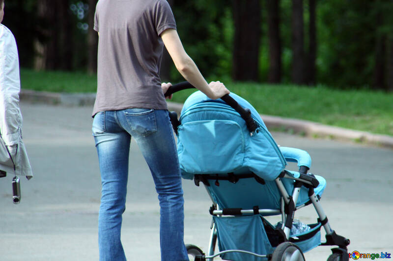 A man walks with baby carriage №5076