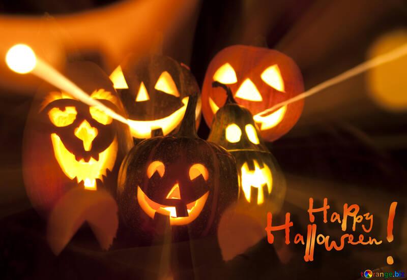Data Di Halloween.Lampade Di Zucche Per Halloween Eve Data Tutti San Cartolina