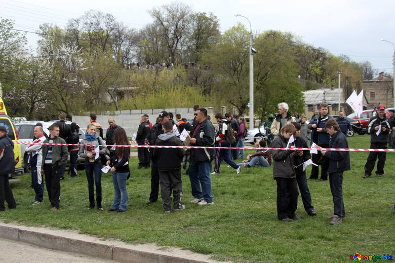 Spectators and fans for the ribbon fencing.Rally №5190