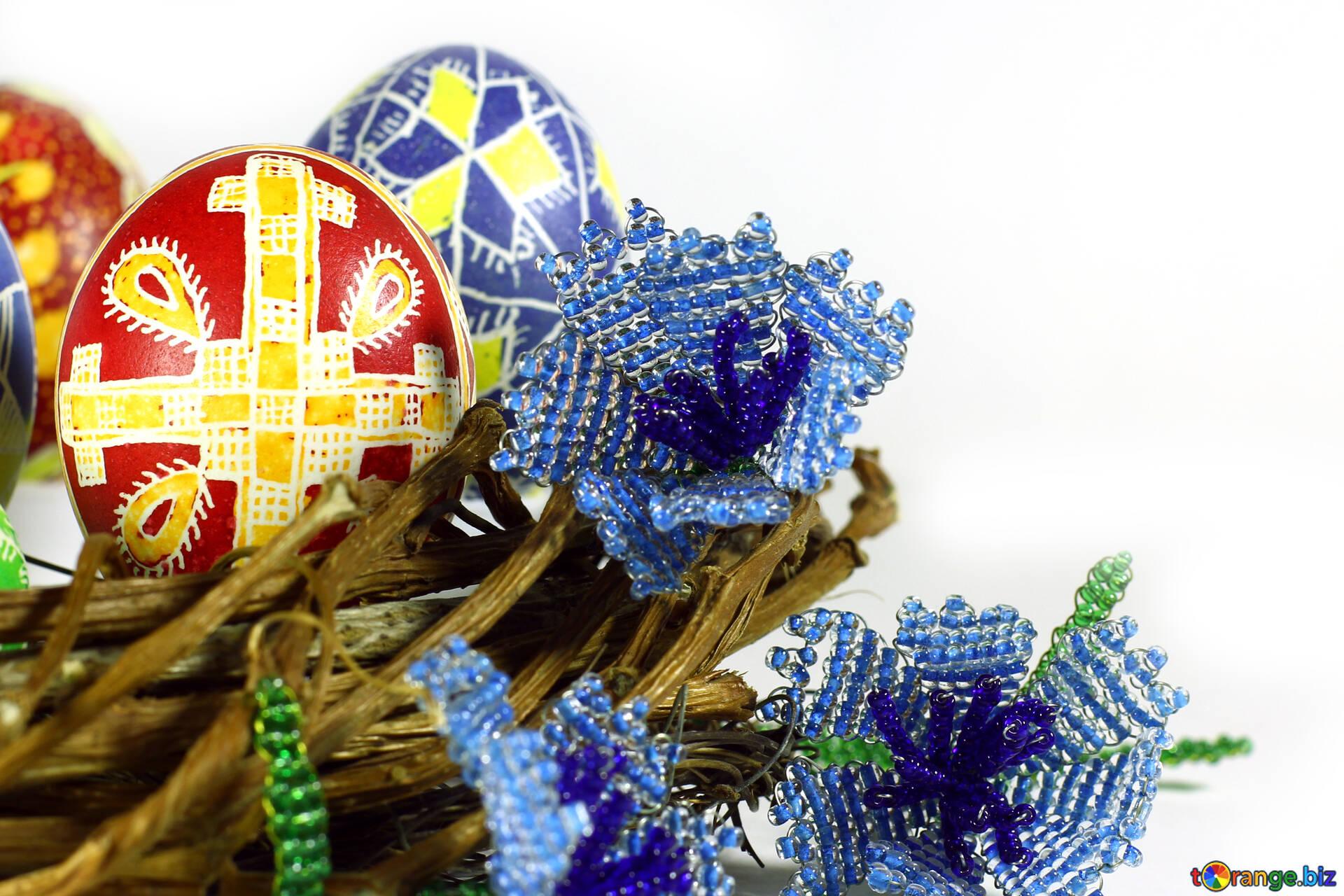Isolamento Di Pasqua Uova Di Pasqua Sfondo Blu E Verde Con Linee