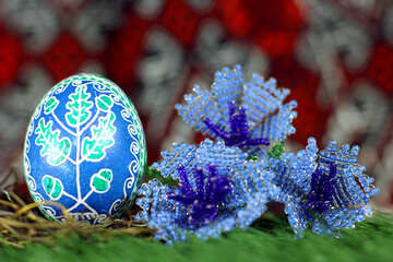 Painted Easter egg and bead art  Purple flowers  №50299