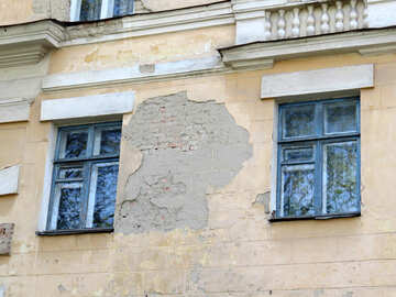 building with two windows peeling paint №50477