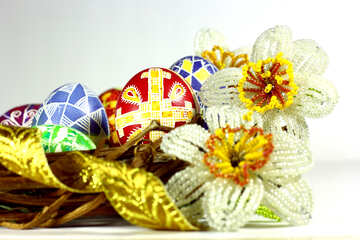 Easter egg  flowers and gold ribbon №50279