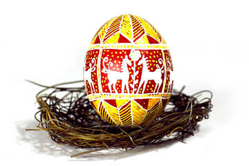 Festive easter egg in a nest with hourses image №50255