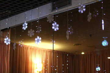 Curtains in window flower lights christmas decoration snowflakes №50391