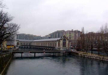 Bridge over the river in Geneva №50088