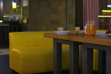 table sofa and yellow couch №50393
