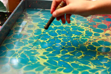 hand draw oil color blue water art №50879