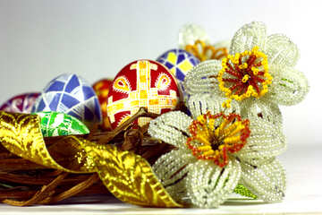 Easter  flowers yarn and other stationary decorations №50282
