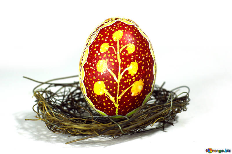gold easter and red egg a bird nest №50257