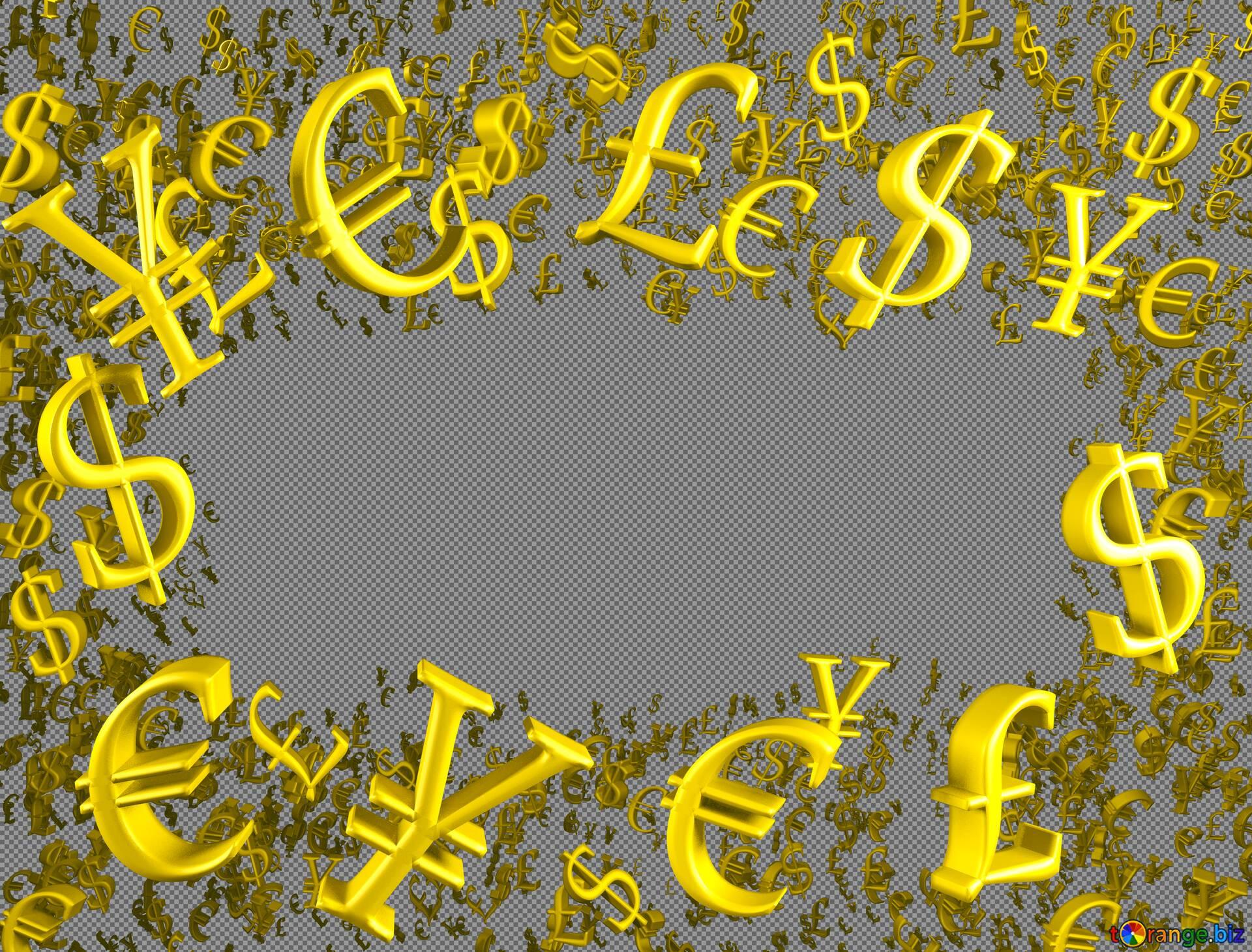 Graphic Backgrounds Gold Money Frame Border 3d Currency Symbols