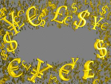 Gold money frame border 3d currency symbols business template  №51552
