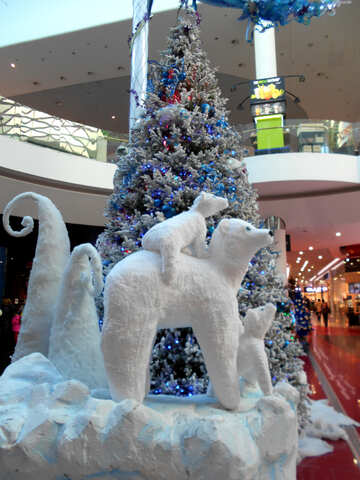 Christmas decor white bear snow №51174