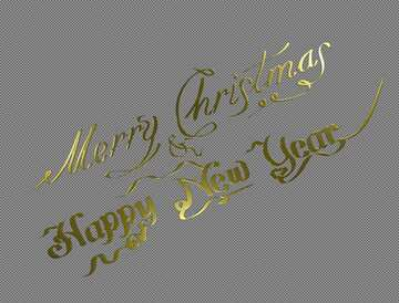 lettering merry Christmas and happy new year gold №51528