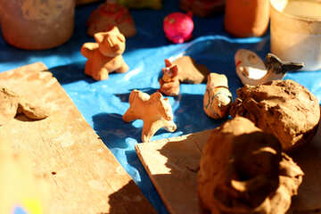 small dog and  cat Clay sand animals №51008