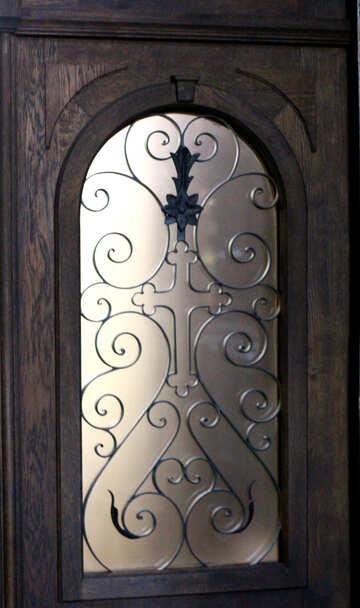 Lusso di vetro decorato della chiesa della porta della finestra №51864