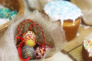 Burlap ornament easter  eggs decorations №51230