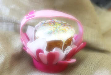 A cupcake small pink holder basket flower present easter №51211