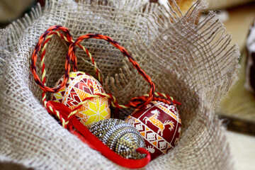 easter eggs toys ornaments in burlap №51226