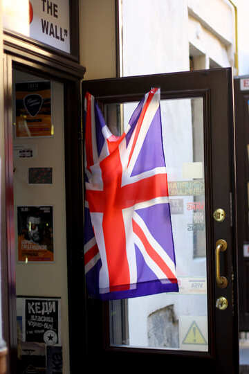 England  flag on door