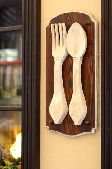 Tenedor y cuchara de madera №51891