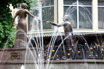 Handshake zwei Statuen und Brunnen №51788