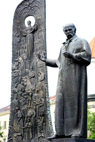 man on right tall rock on left Statue Taras Shevchenko №51833