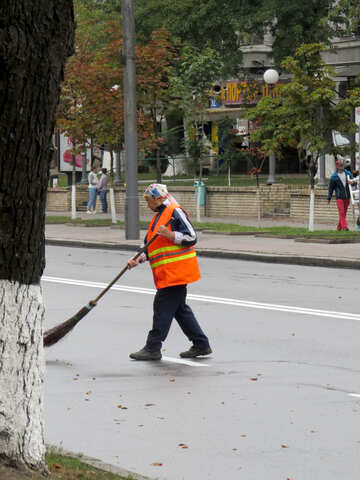 Street sweeper man road cleaner sweep guy №51245