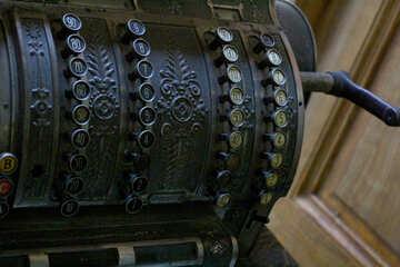 metal roll cash register old machine black №51656
