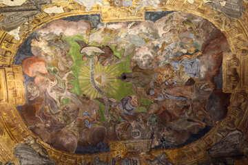 Ein Gemälde, es scheint, als ob es an der Decke einer Kapelle gemalt wird, oder so ähnlich scheint ein sehr altes Gemälde in der Kirche №51870