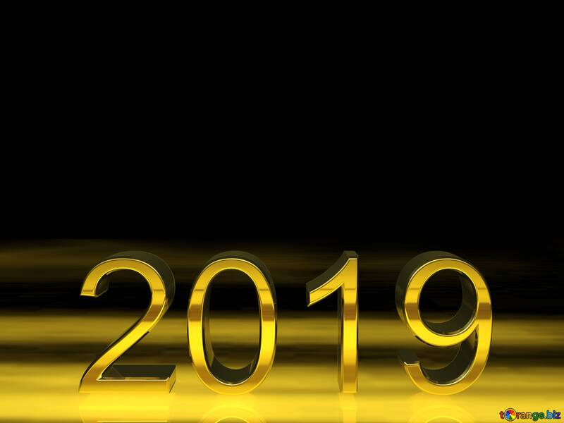 2019 3d render gold digits with reflections dark background isolated №51520