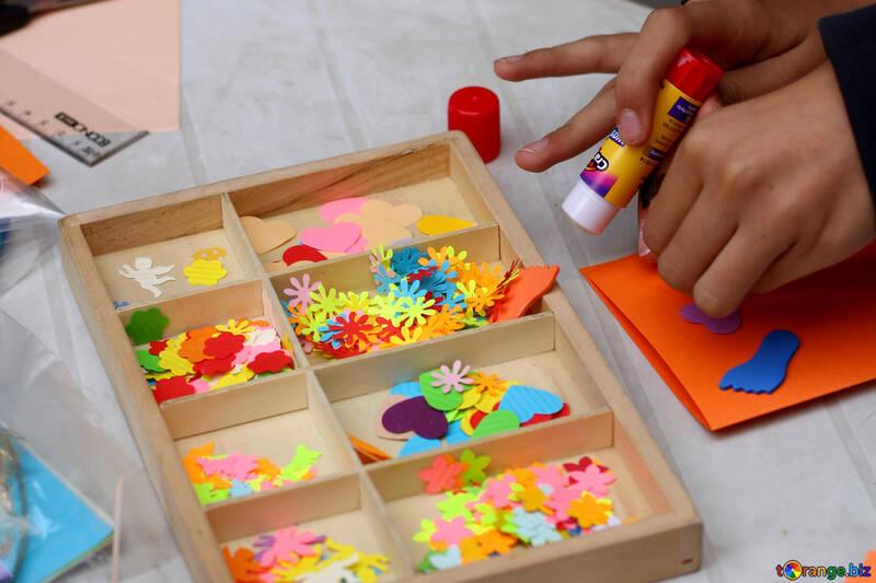 Glue crafts card making materials box. №51003