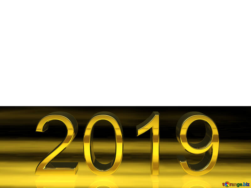 2019 3d render gold digits with reflections white background isolated №51521