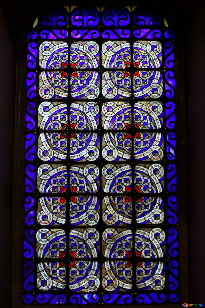 Stained glass window blue №51614