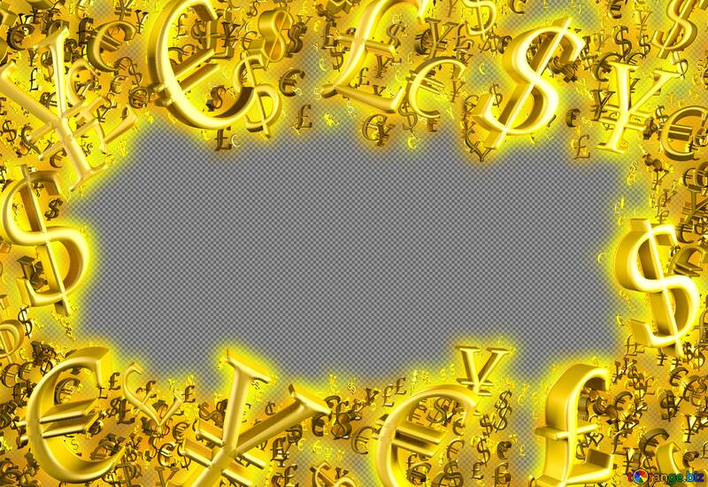 Golden money frame finance. Physical currency symbols. Business concept background for trade sales promo template. №51554